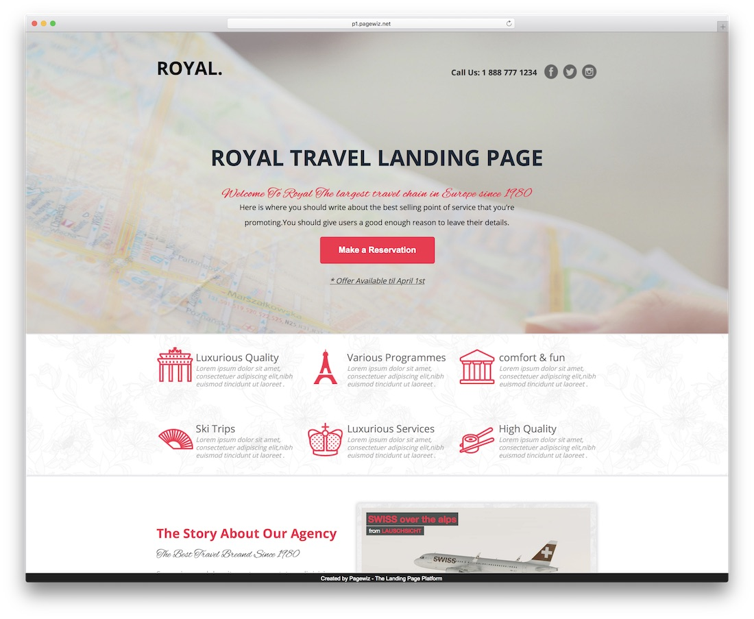 royal pagewiz landing page template