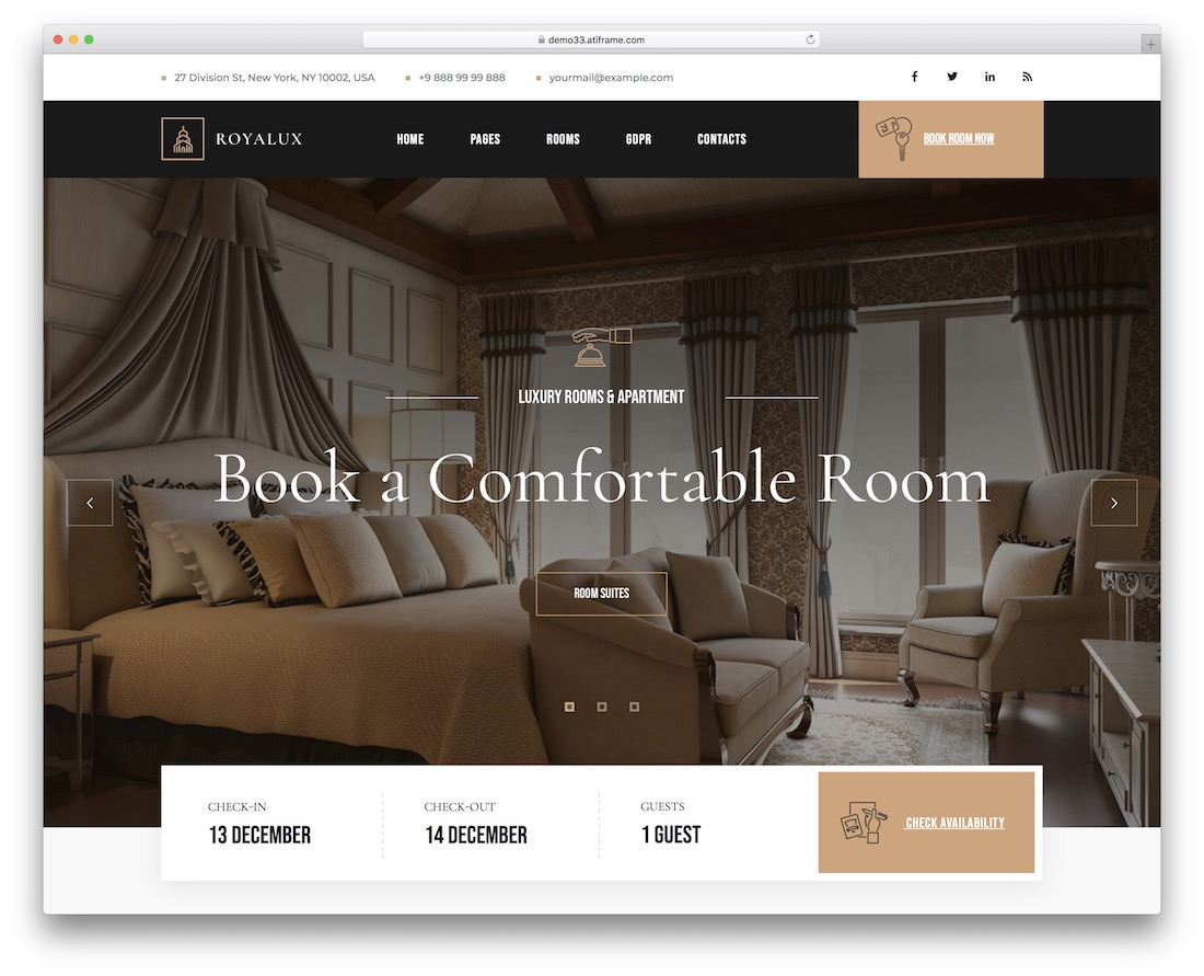 royalux hotel booking wordpress theme