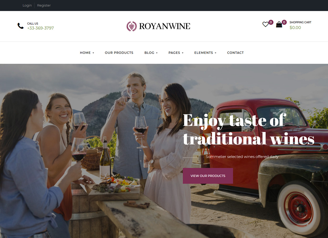 Vineyard, Winery, Wine Shop and Dairy Farm WordPress Theme