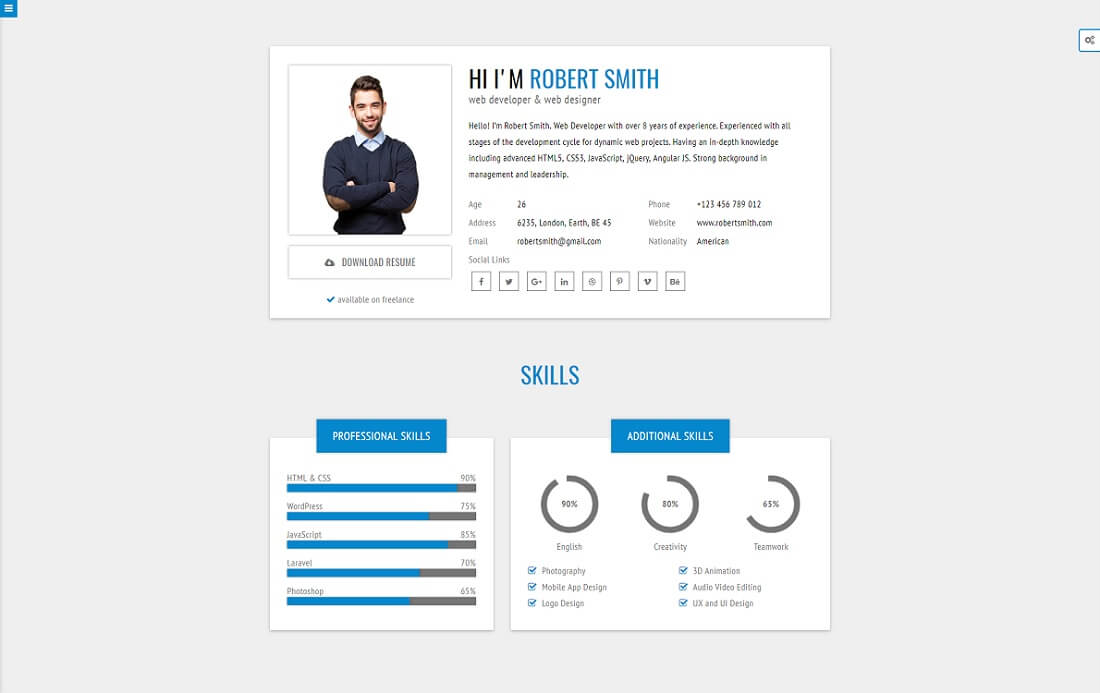 rstill HTML resume cv website template