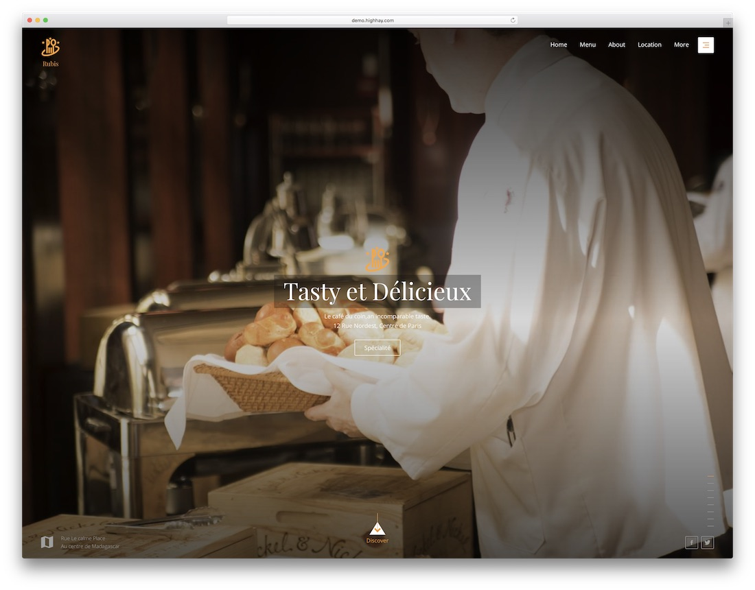 rubis catering website template