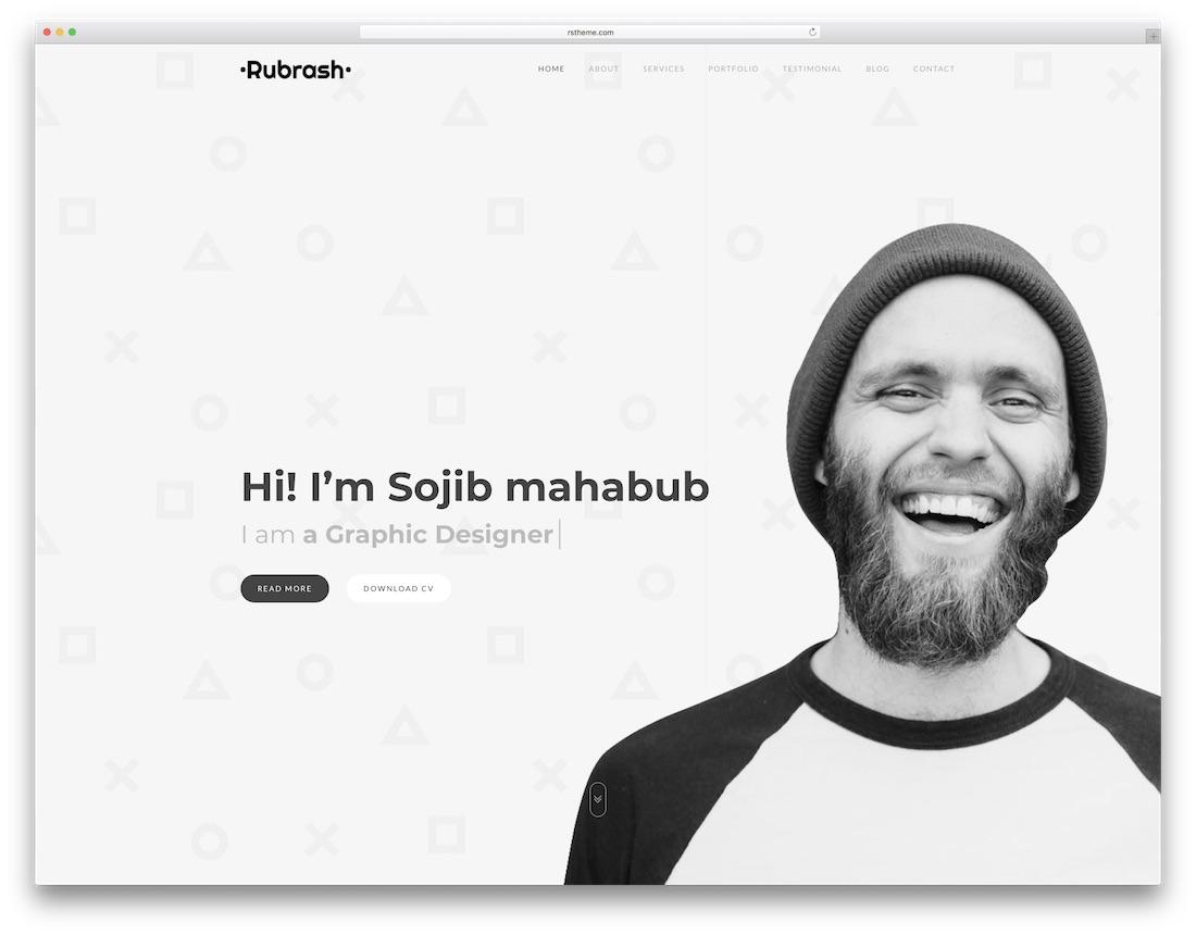 rubrash graphic design website template