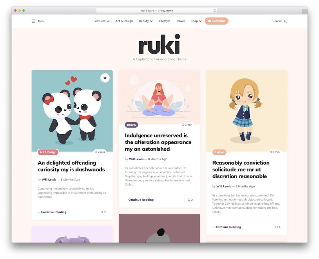 ruki pinterest style wordpress theme