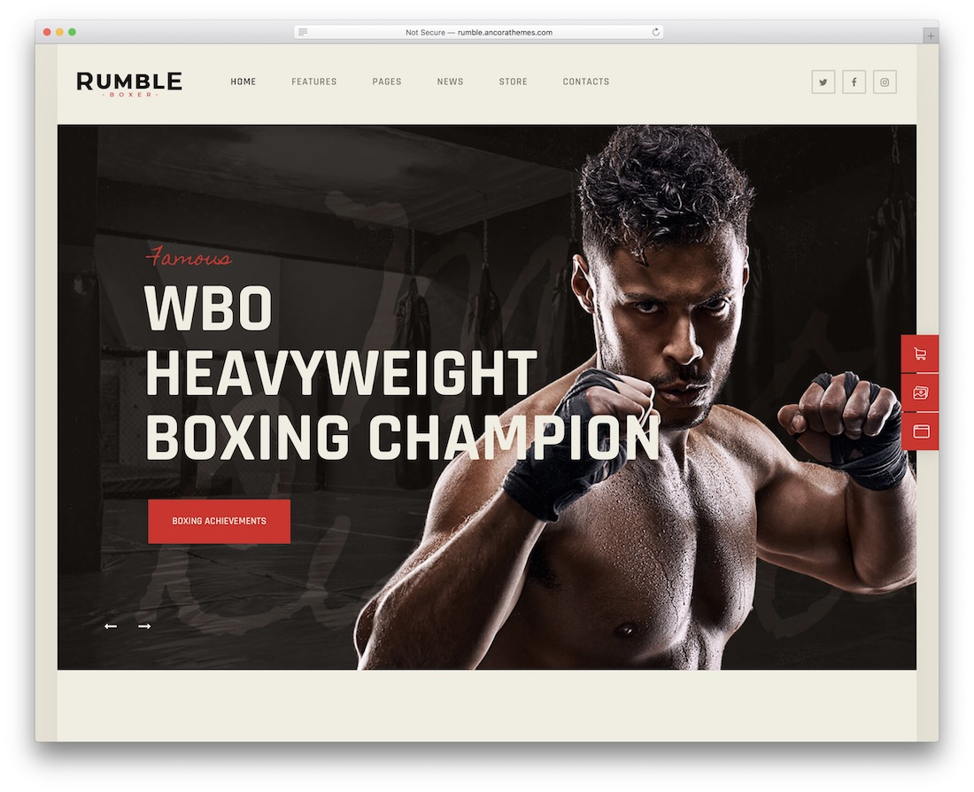 rumble martial arts wordpress theme