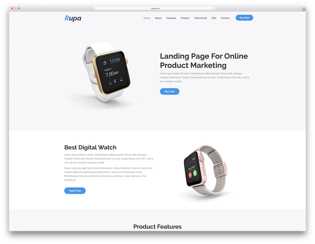 rupa landing page template