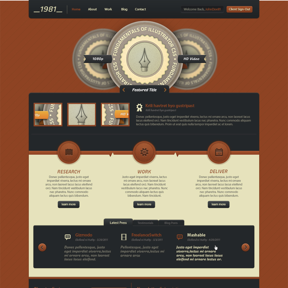 Rust Theme Free PSD Website Template