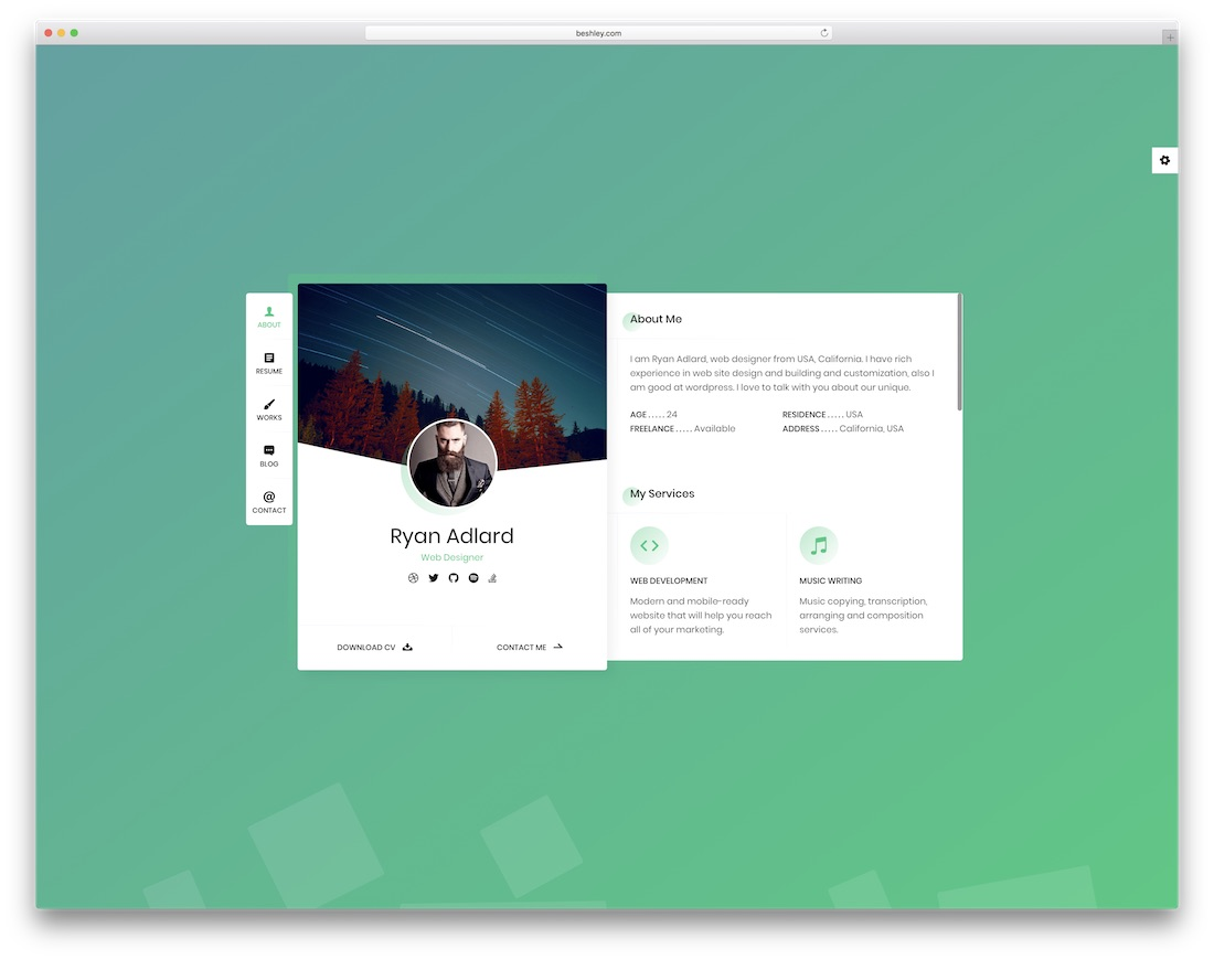 ryan vcard bootstrap personal website template
