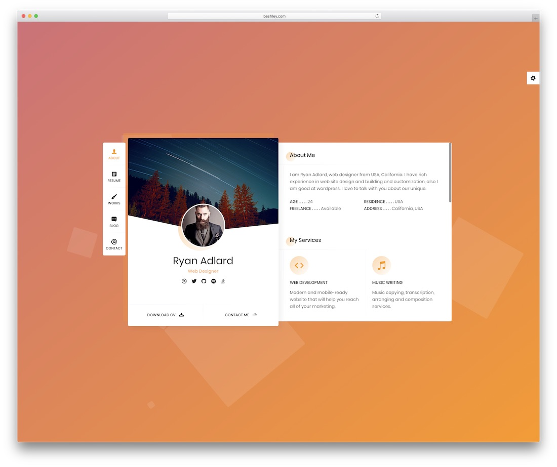 ryan vcard personal website template