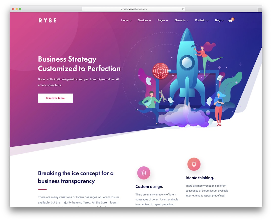 ryse marketing website template