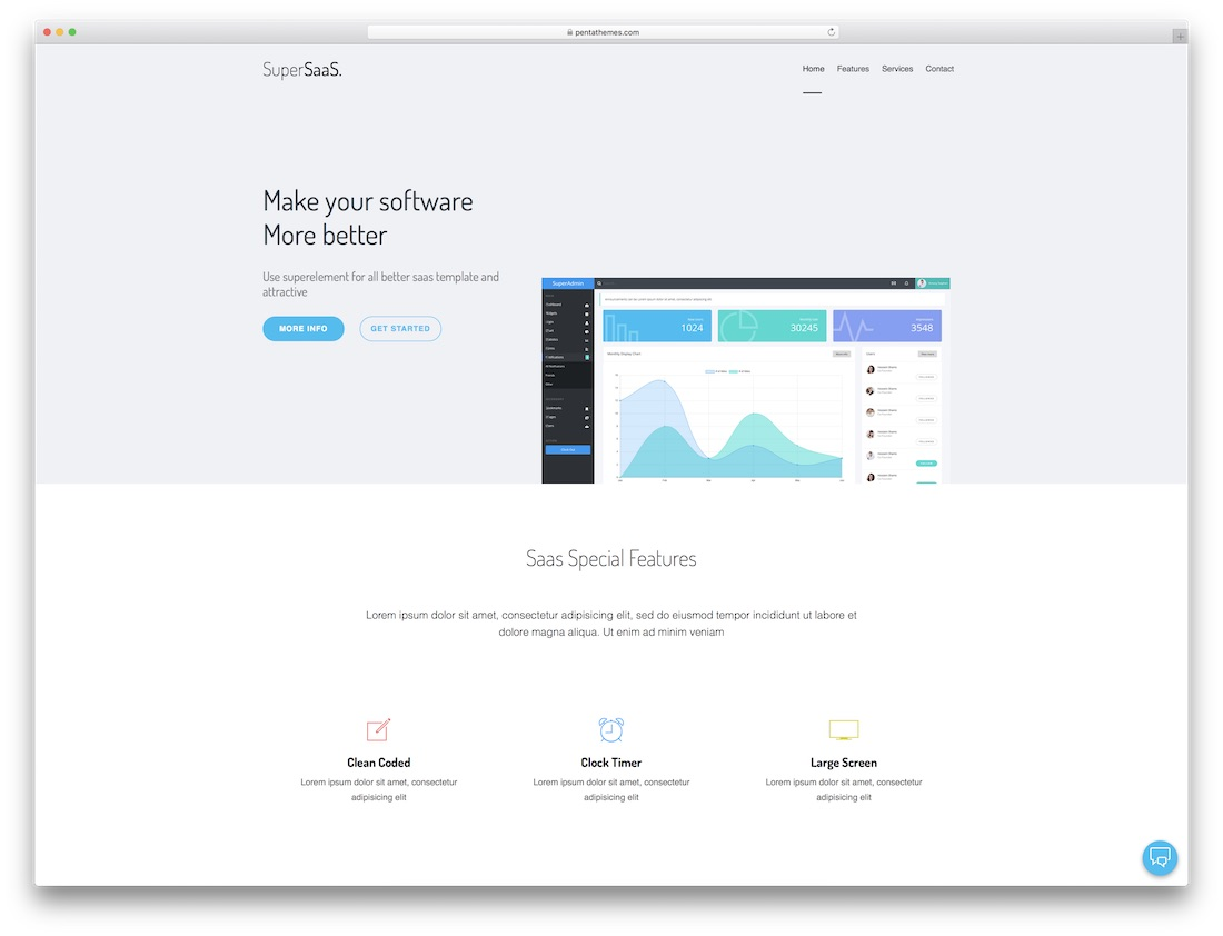 saas agency software company website template
