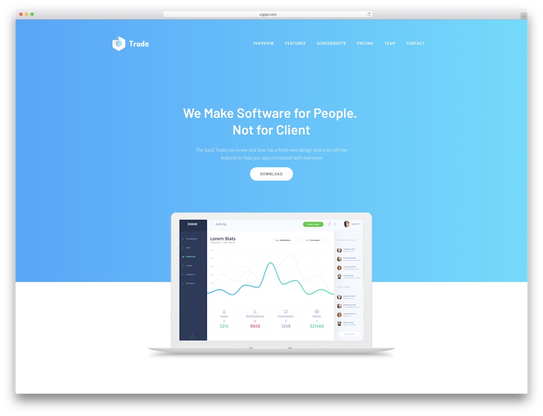 saas trade software company website template
