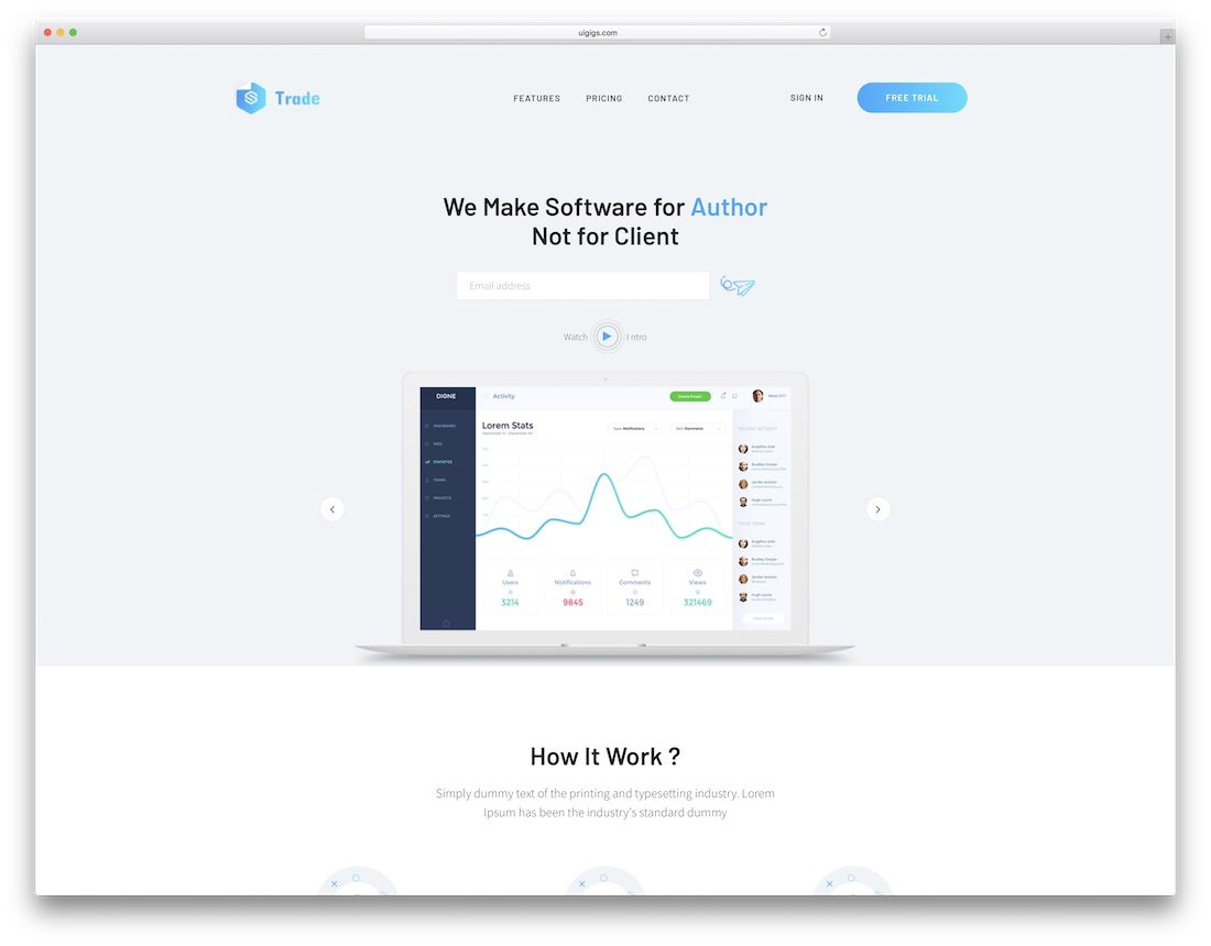 saas trade technology website template