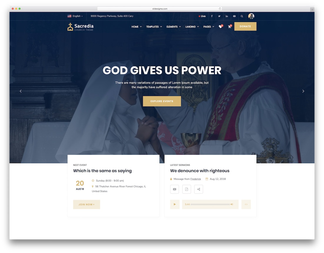 sacredia church website template