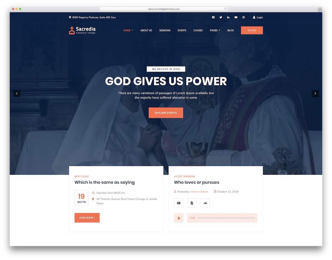 sacredia wordpress church theme with events