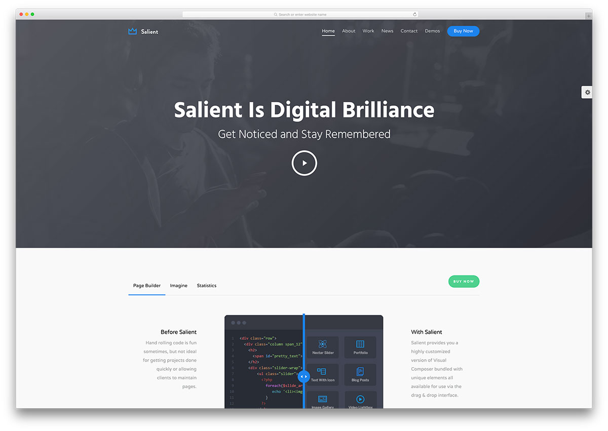 50 best wordpress corporate business themes of 2018 colorlib salient tech company wordpress template flashek
