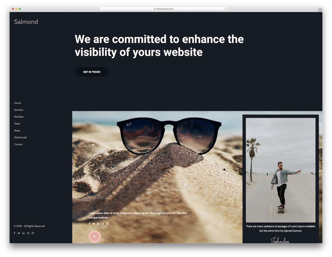salmond html5 one page website template