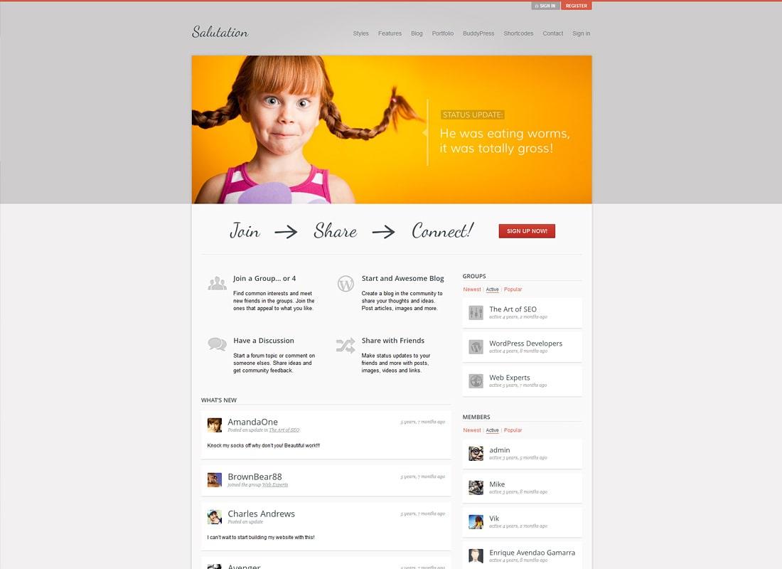 Salutation Responsive WordPress BuddyPress Theme