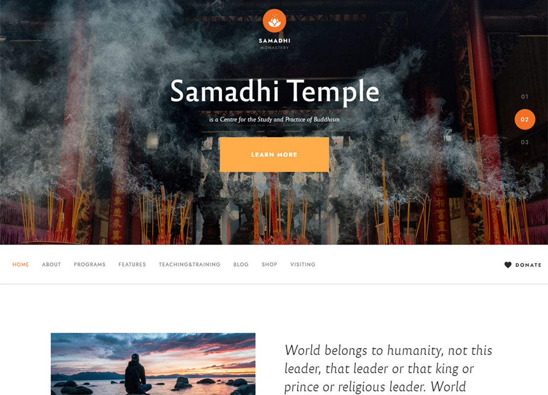 Samadhi | Oriental Buddhist Temple WordPress Theme