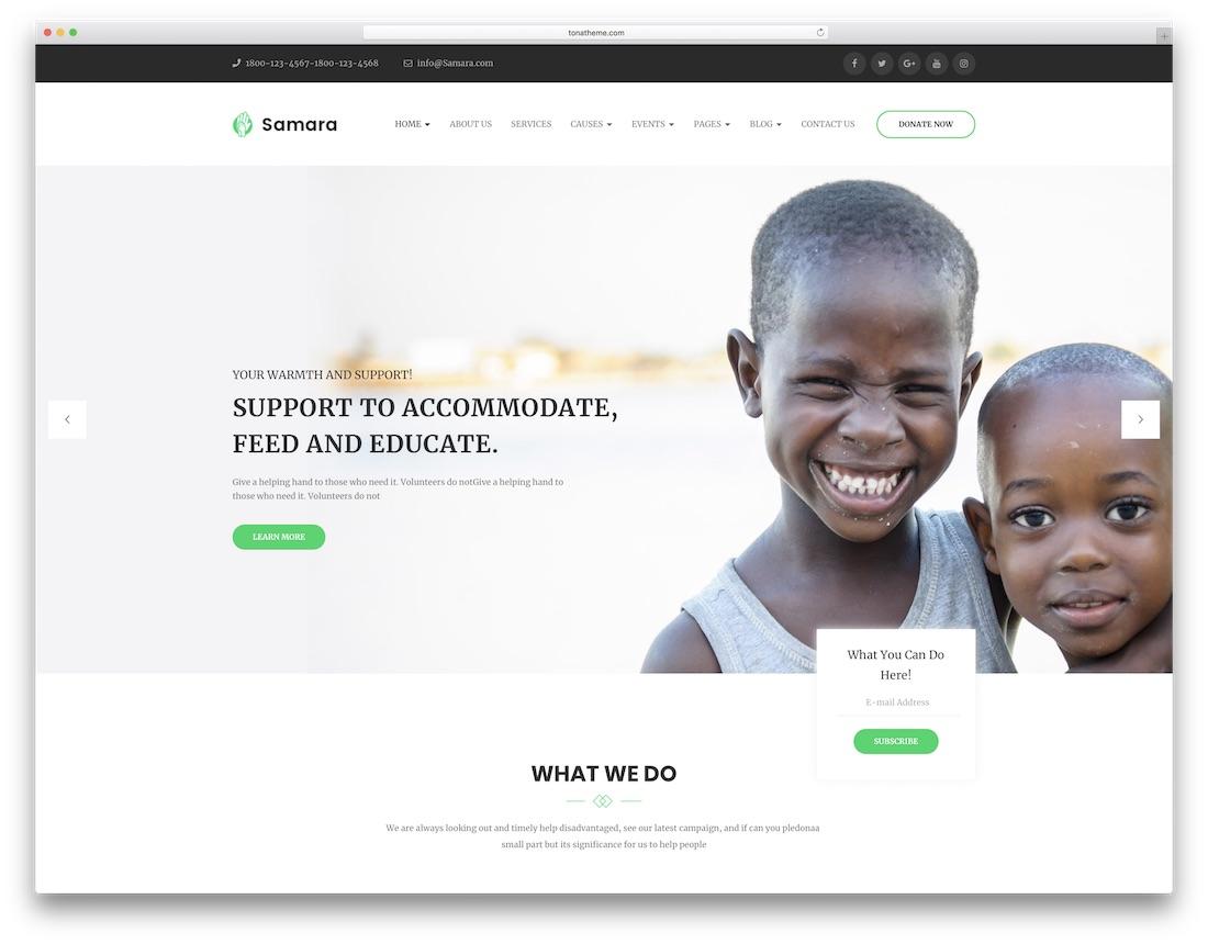 samara wordpress theme for non profit charity organizations