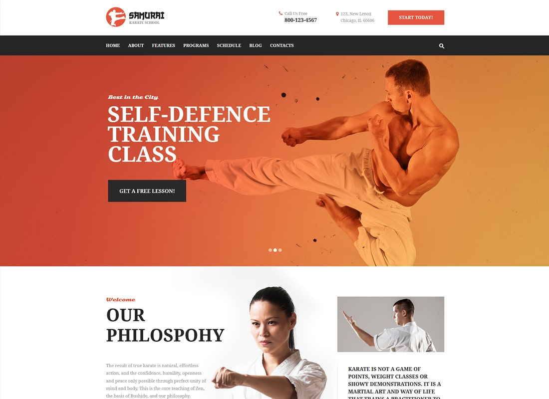 Samurai | Karate School and Fitness Center WordPress Theme