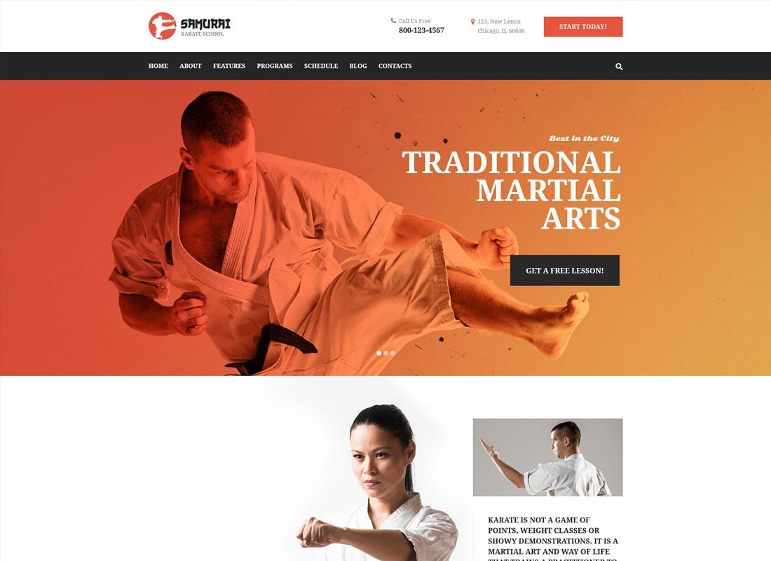Samurai | Karate School and Fitness Center WordPress Theme