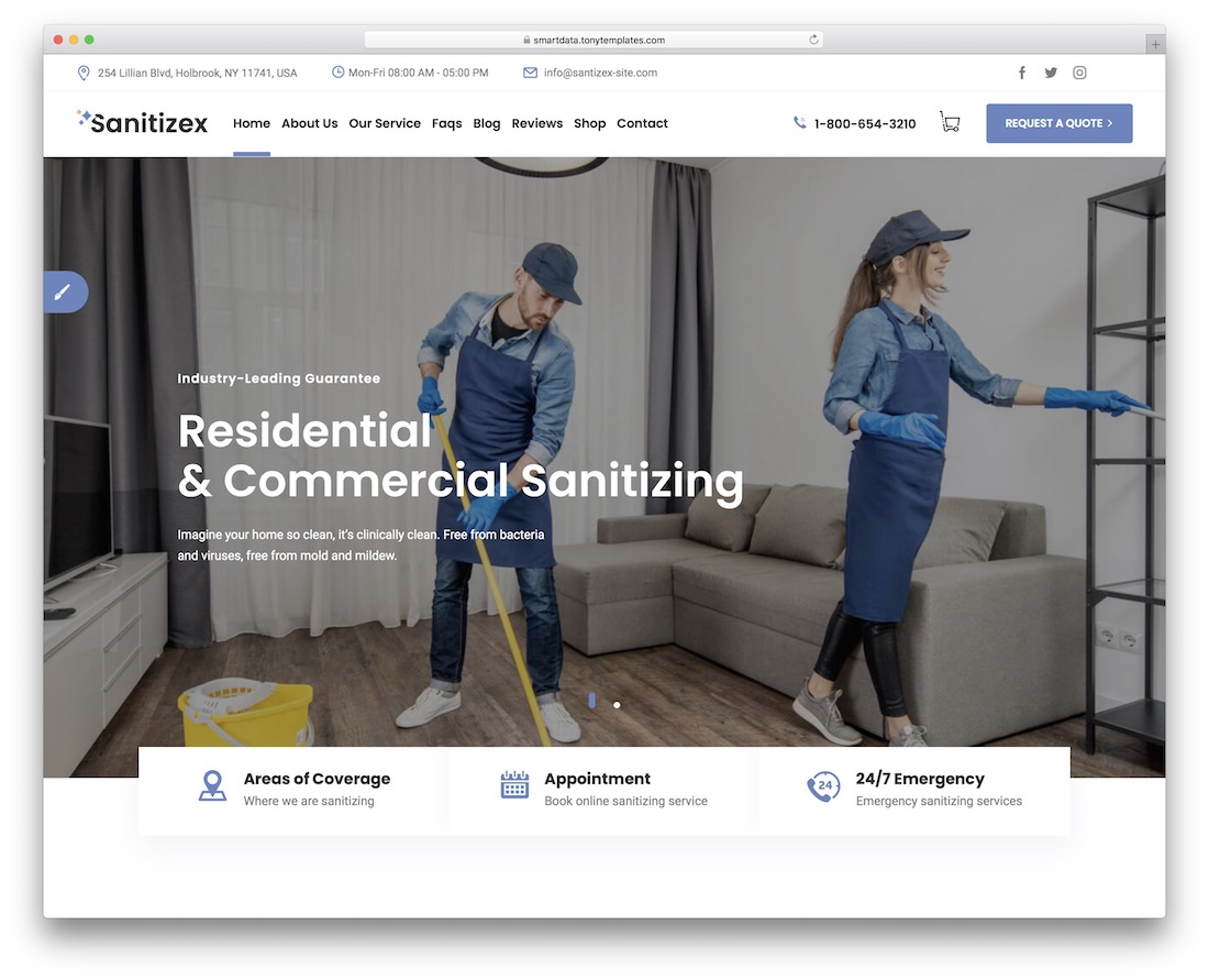sanitizex cleaning company theme
