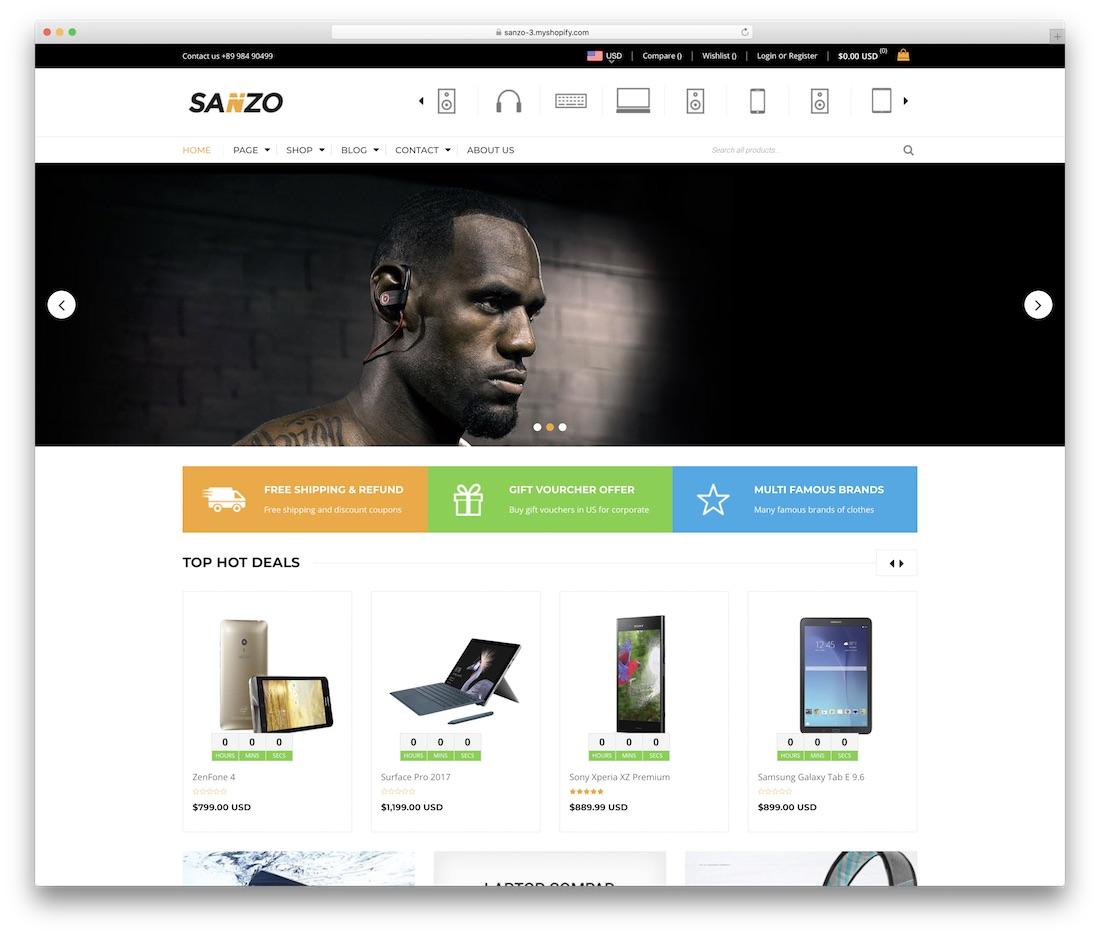 sanzo shopify technology theme