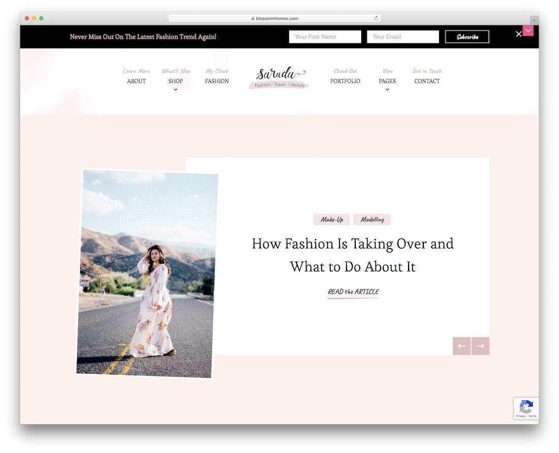 sarada free feminine wordpress theme
