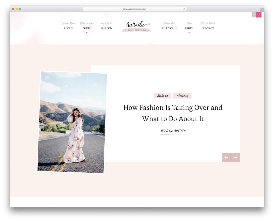 sarada lite free minimalist wordpress theme