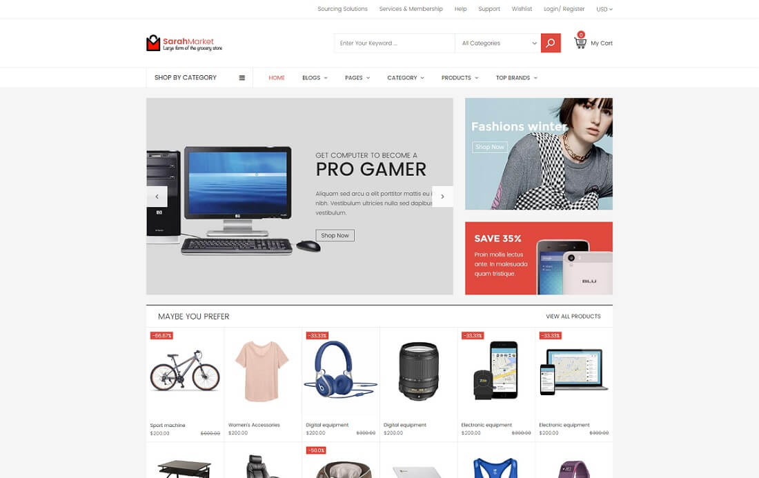 sarah market shopify technology theme