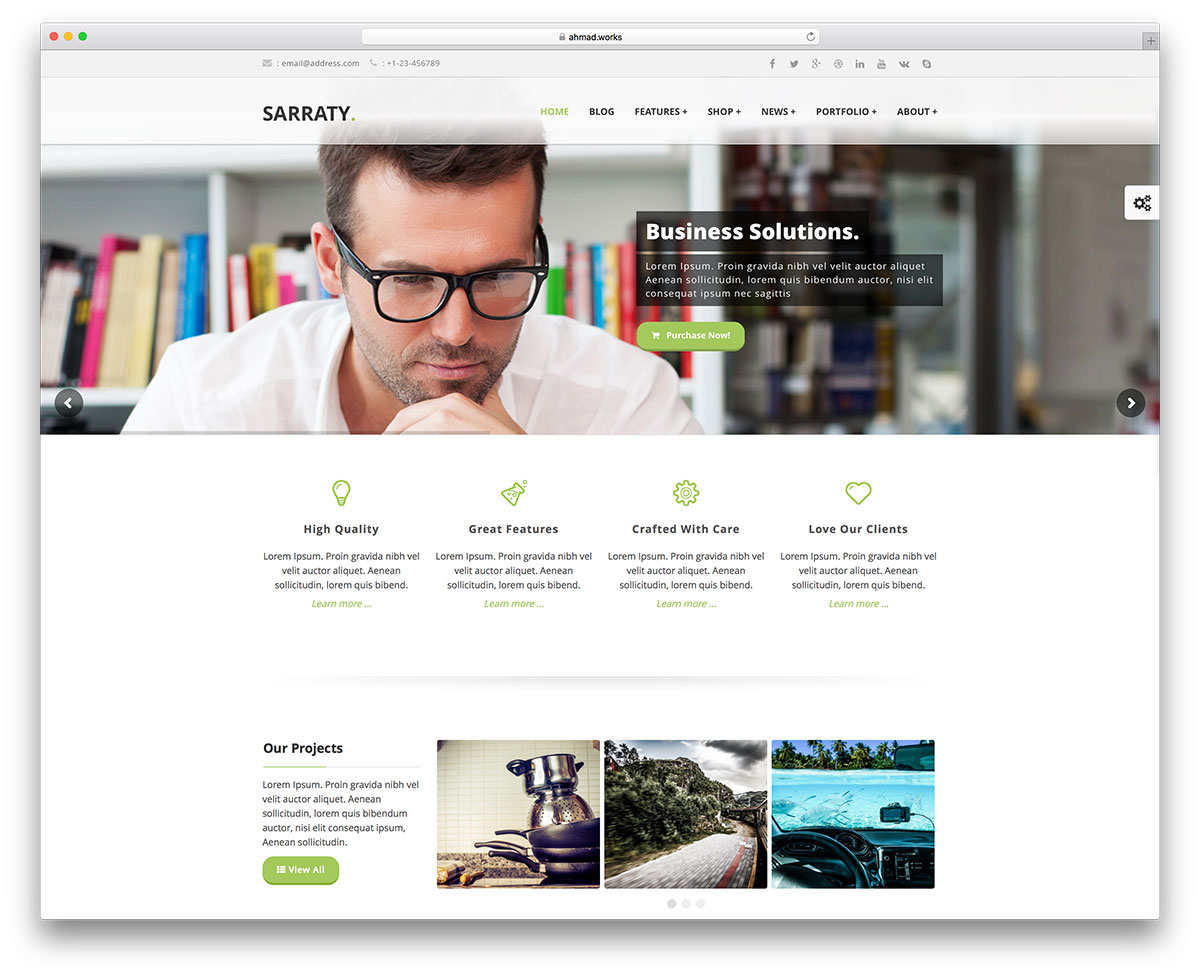 50 best wordpress corporate business themes of 2018 colorlib sarraty minimal business wordpress website template accmission Image collections