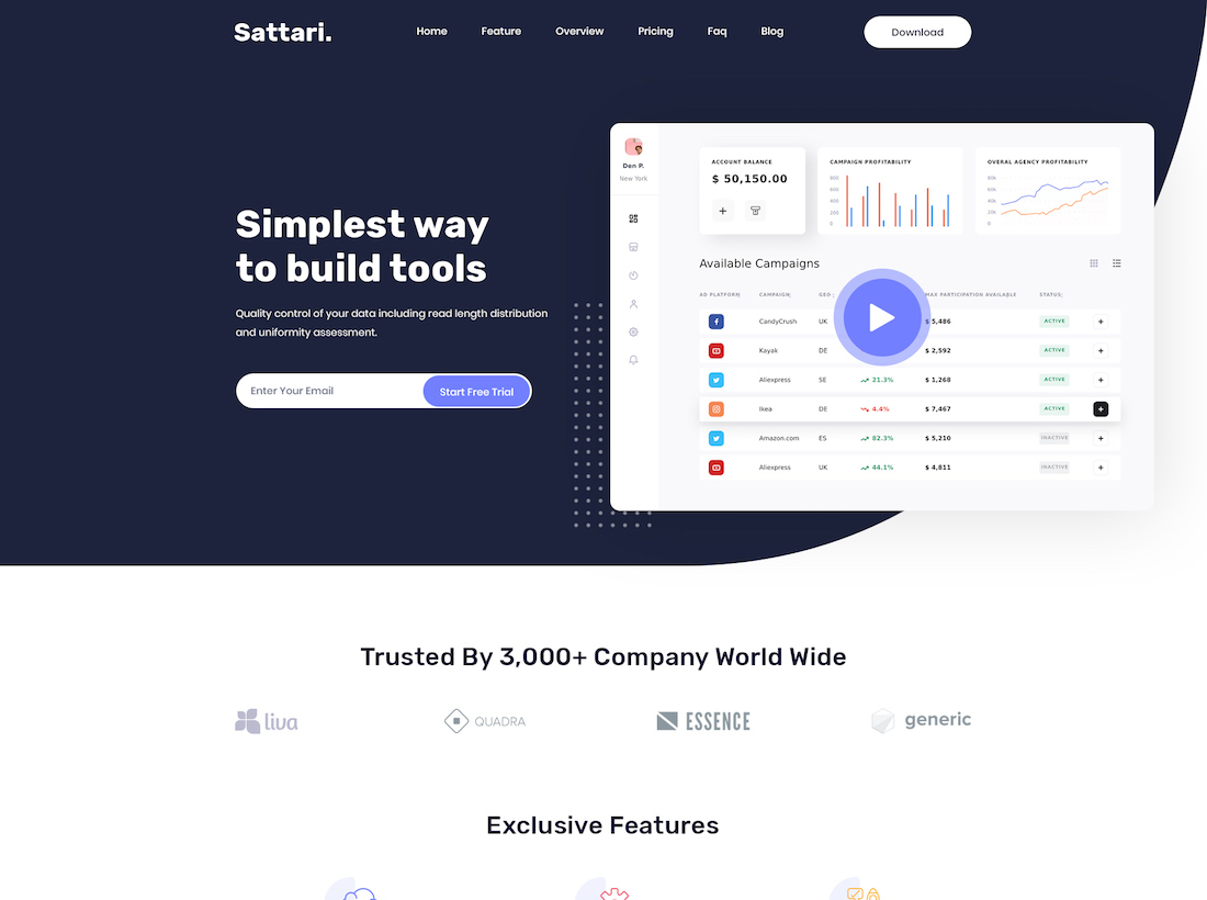 sattari website mockup