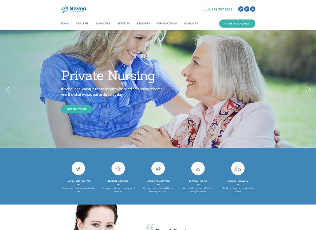 Saveo - In-home Care & Private Nursing Agency WordPress Theme
