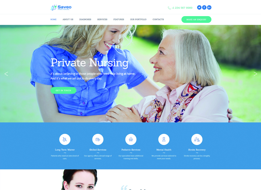 Saveo - In-home Care & Private Nursing Agency WordPress Theme