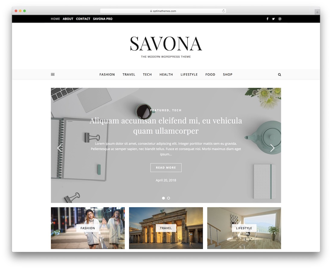 savona free clean wordpress theme