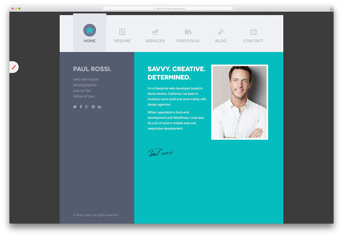 savvy personal resume html template - Website Resume