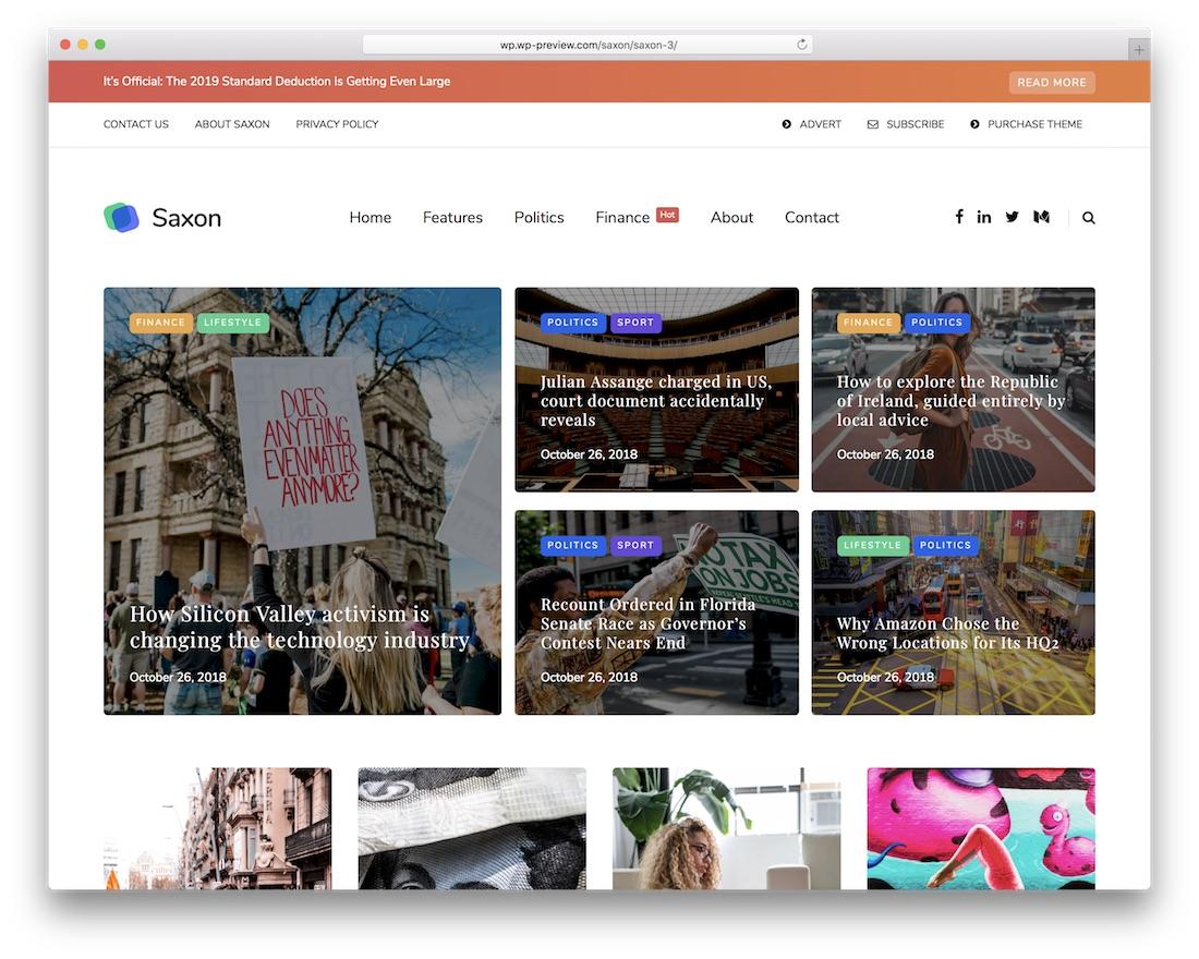 saxon magazine wordpress theme