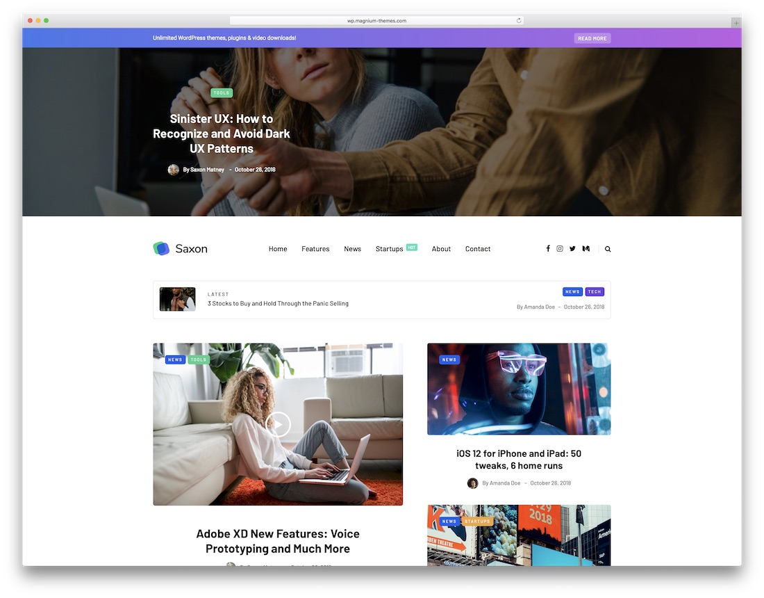 saxon mobile friendly wordpress theme