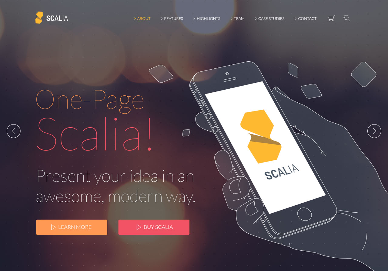 scalia one page parallax theme