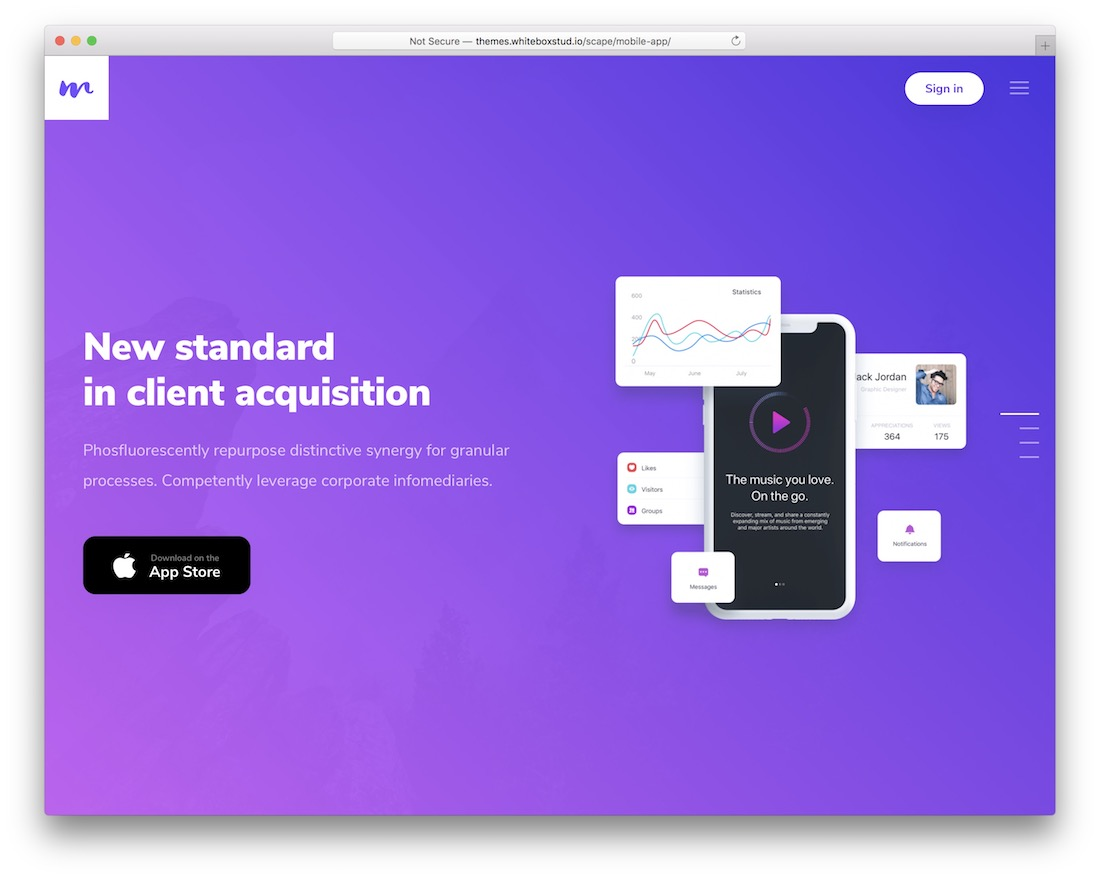 scape app showcase wordpress theme