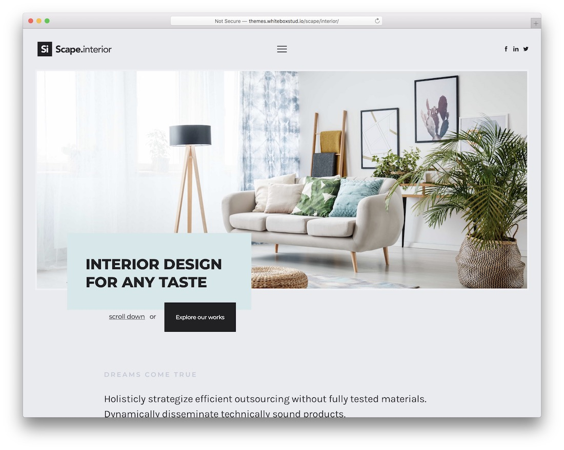 scape interior design wordpress theme