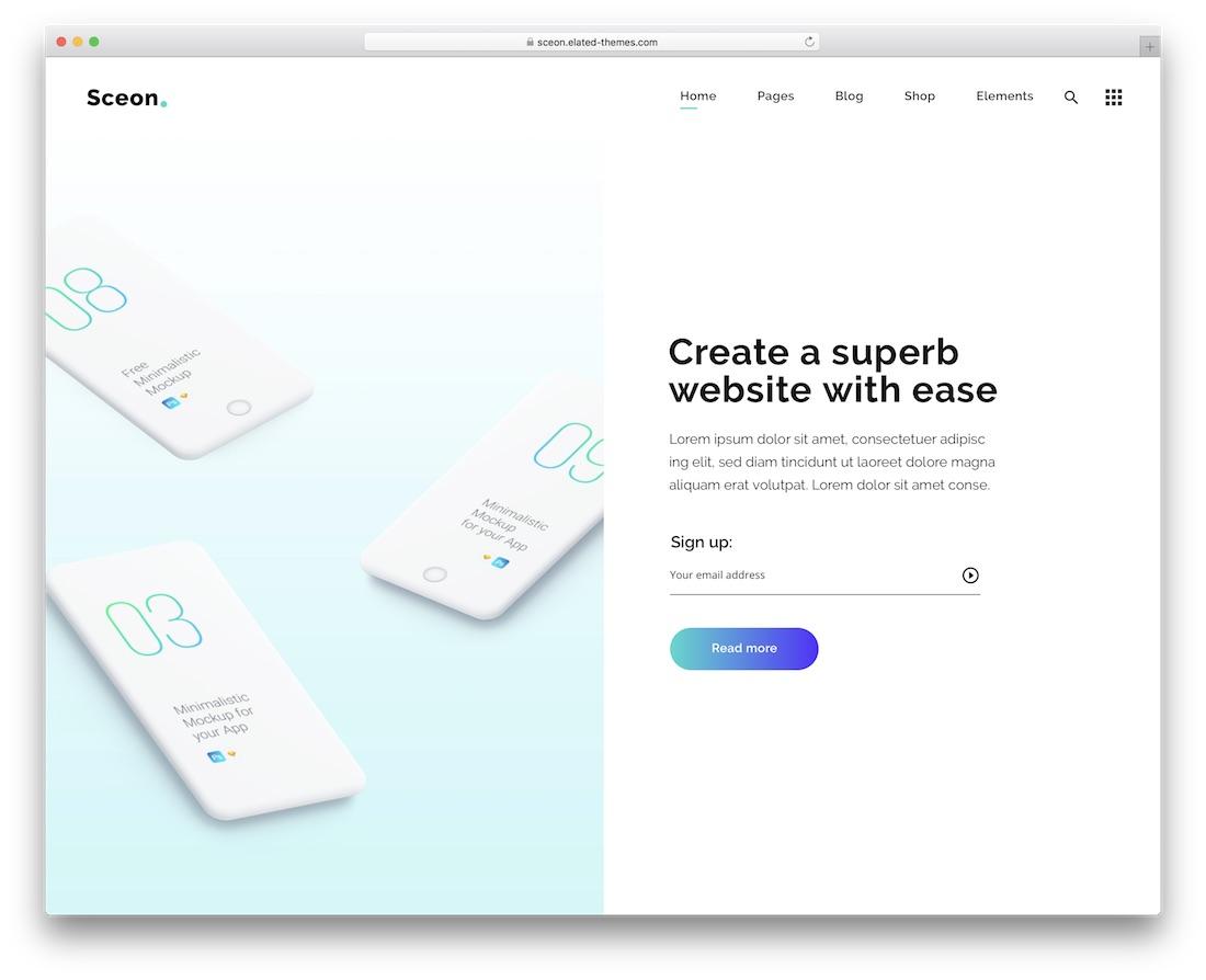 sceon app showcase wordpress theme