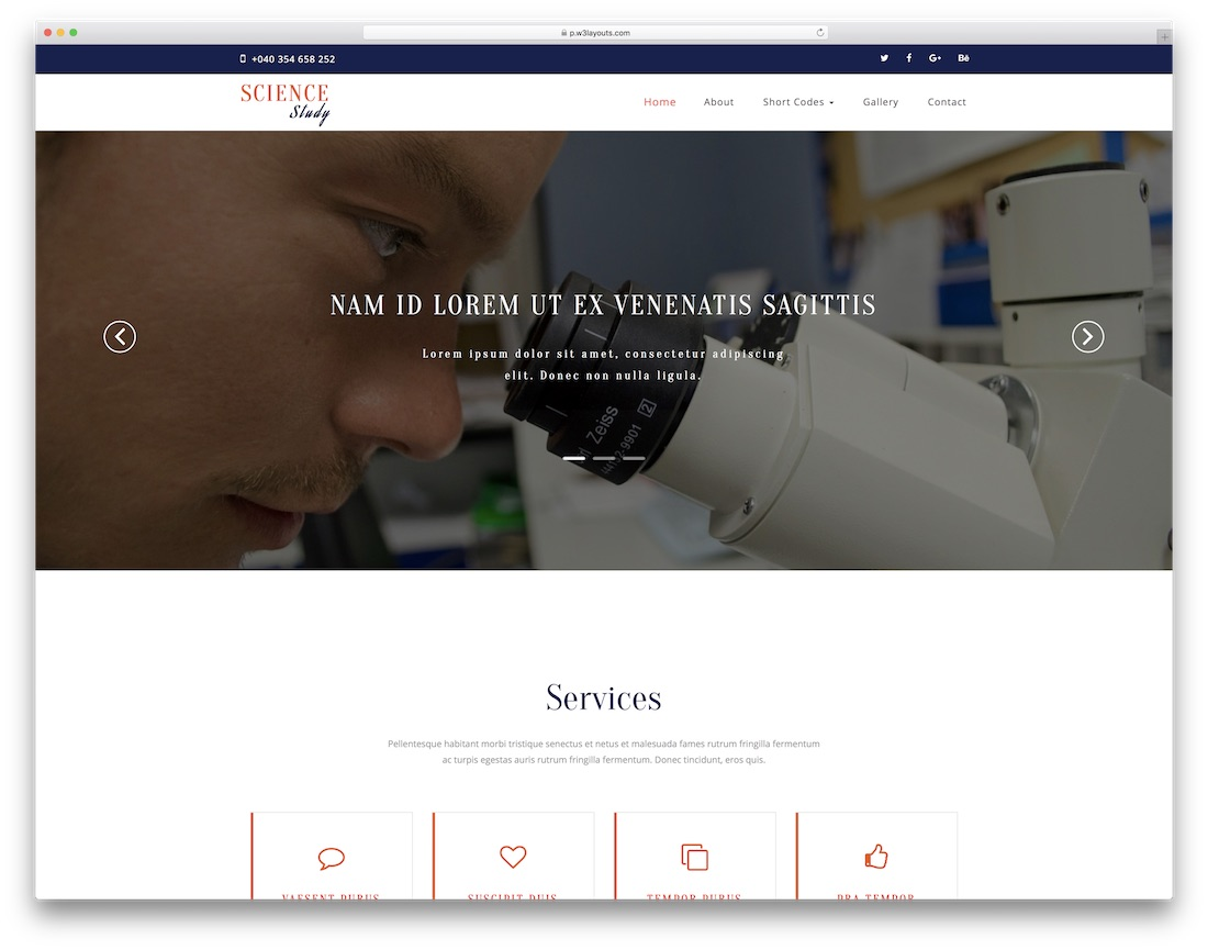 science study website template
