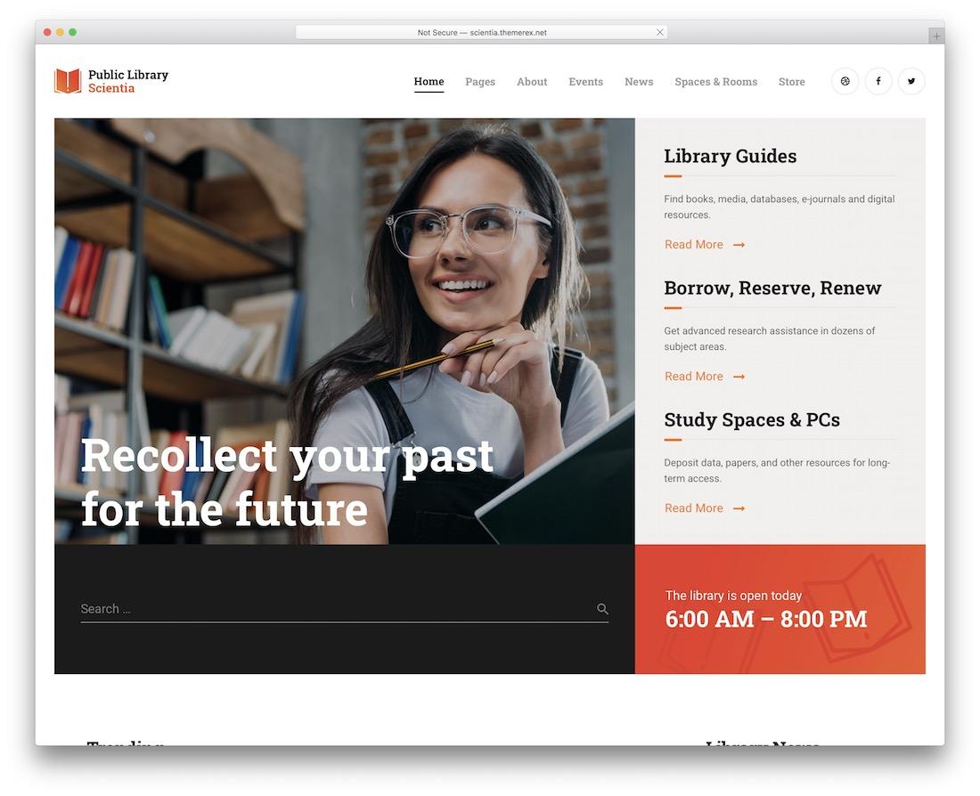 scientia wordpress theme for bookstores libraries