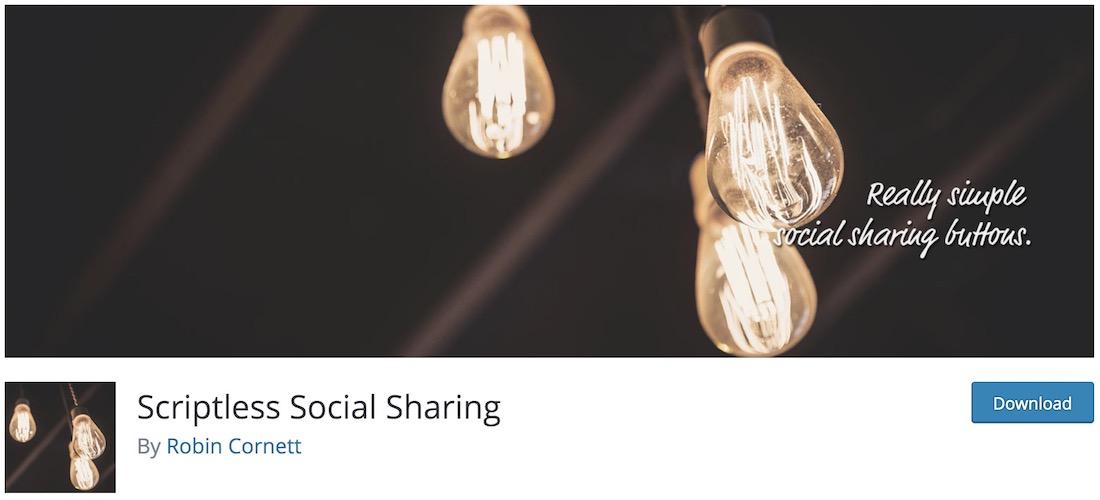 scriptless social sharing wordpress plugin