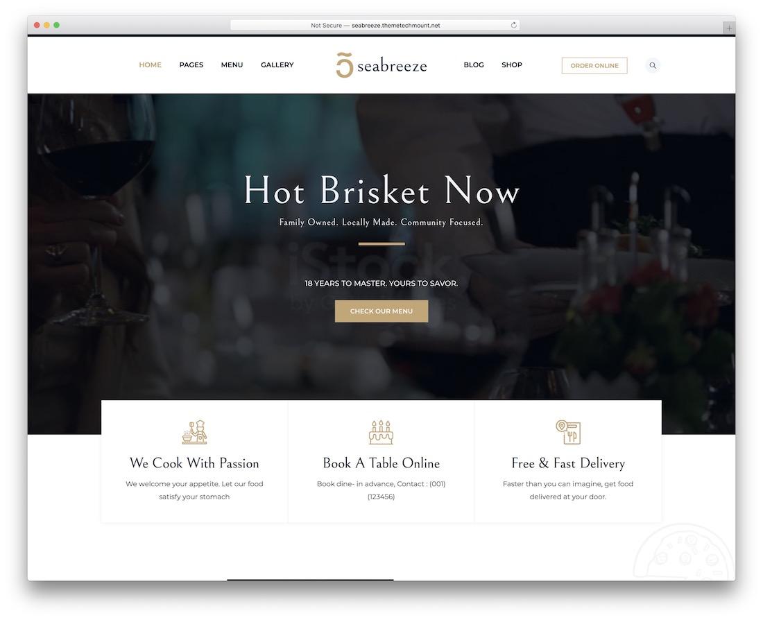 seabreeze restaurant website template