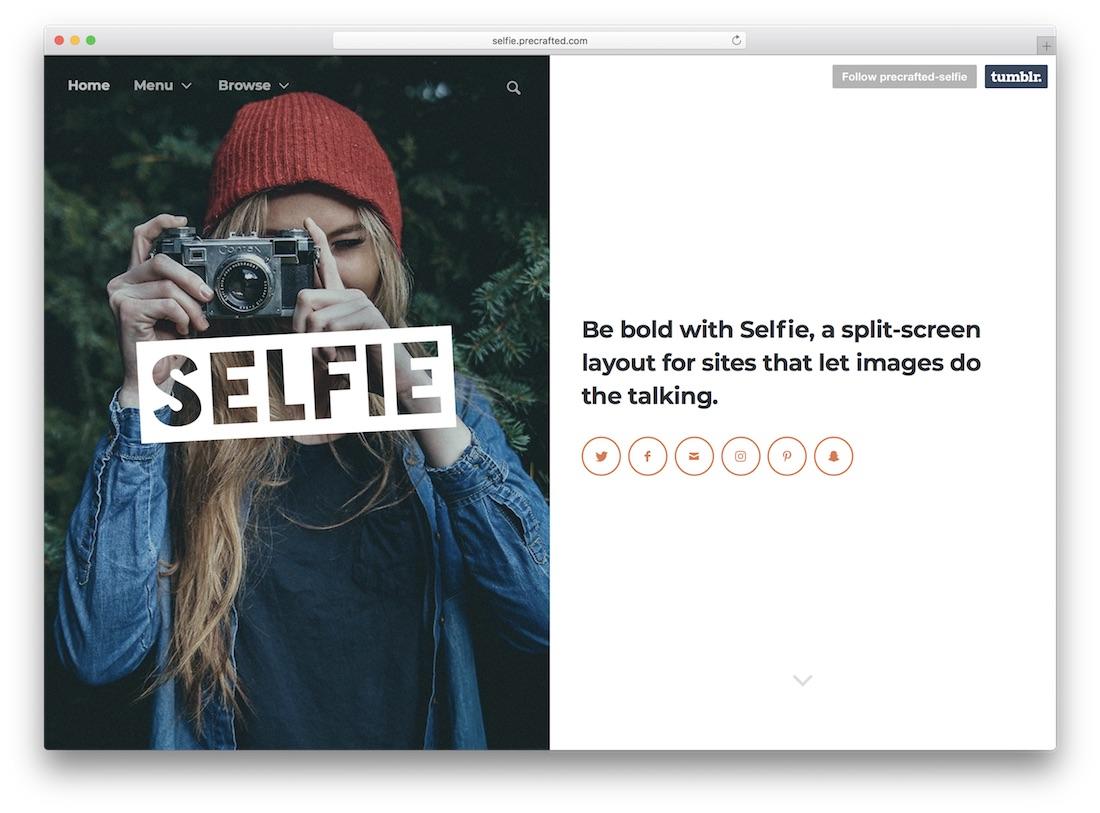 selfie tumblr theme