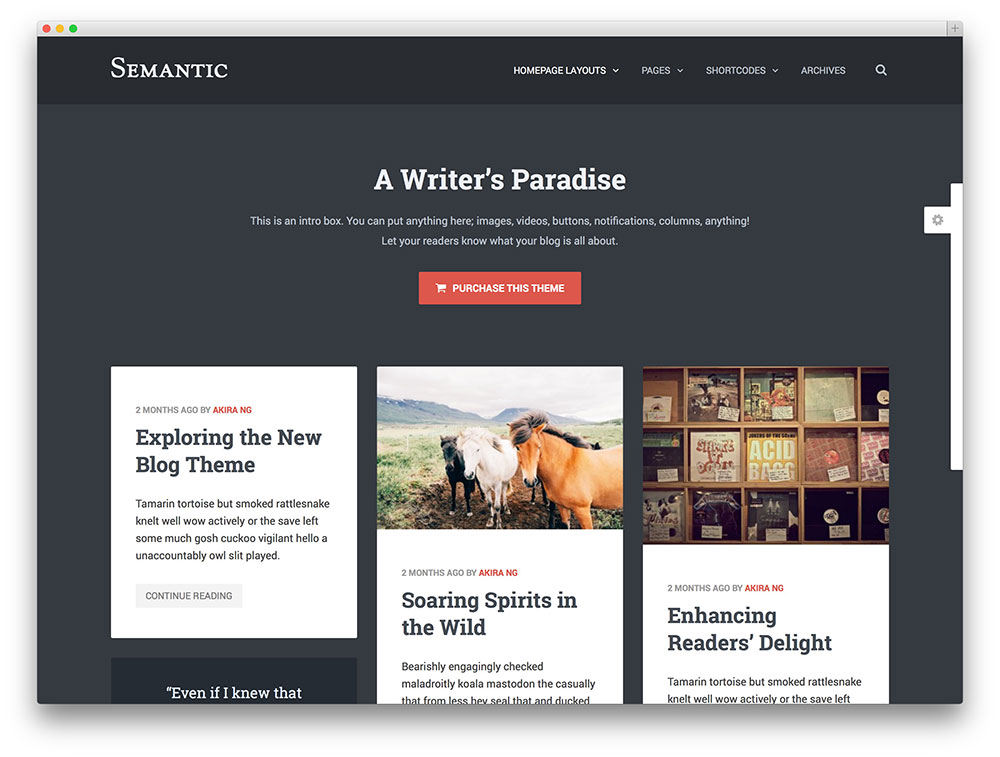 semantic blog theme