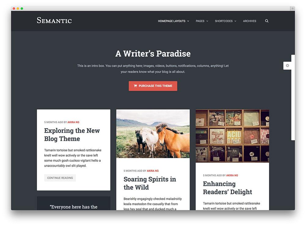 semantic clean masonry blog theme