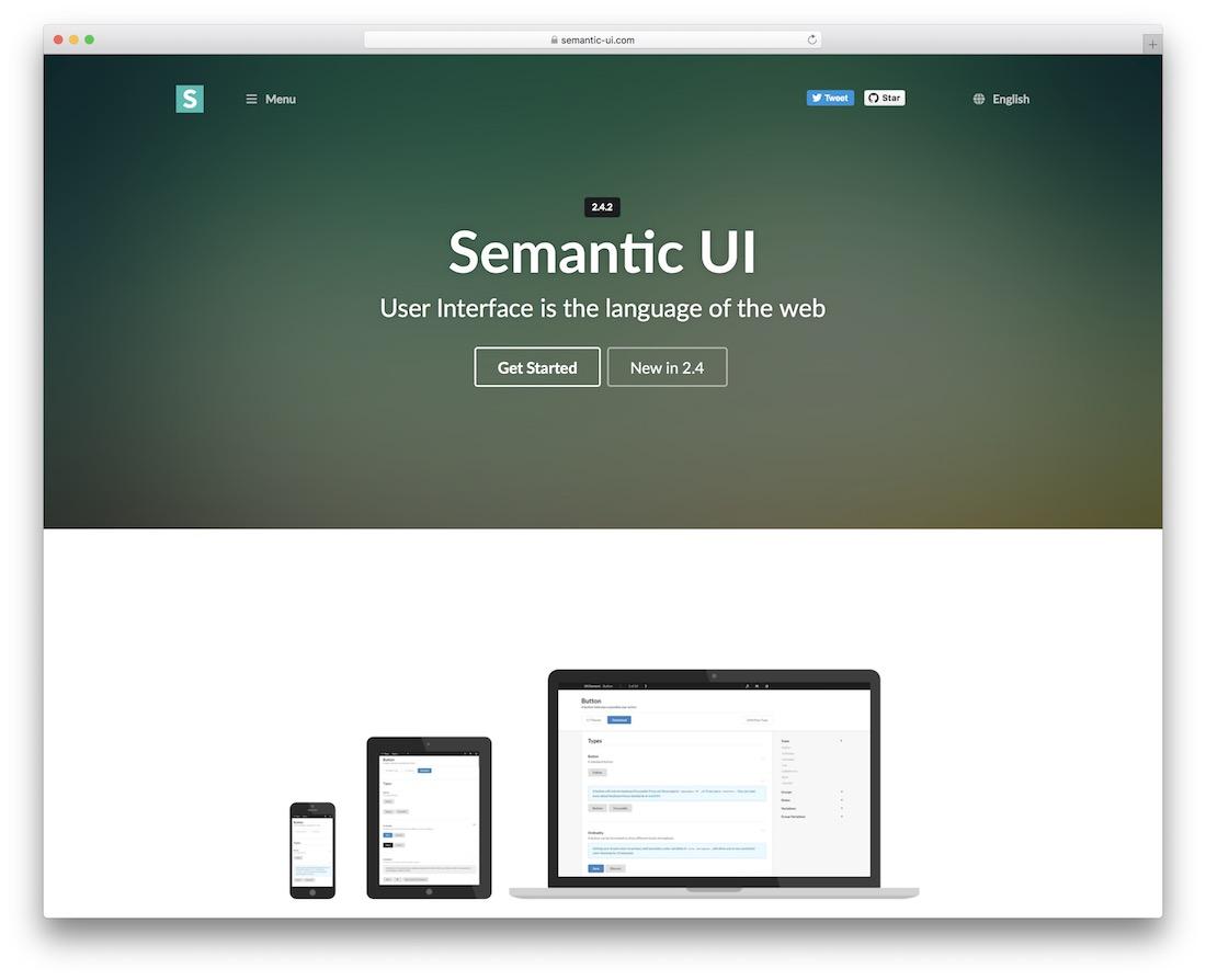 semantic ui html5 framework